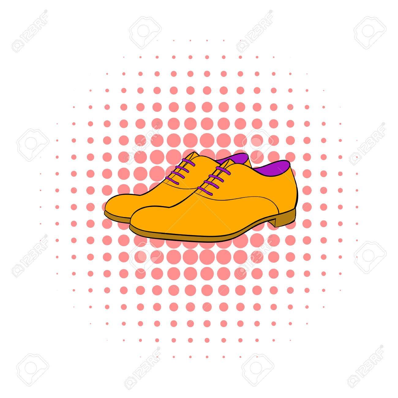 Schuhe Fur Herren In Comics Stil Auf Gepunkteten Hintergrund Symbol