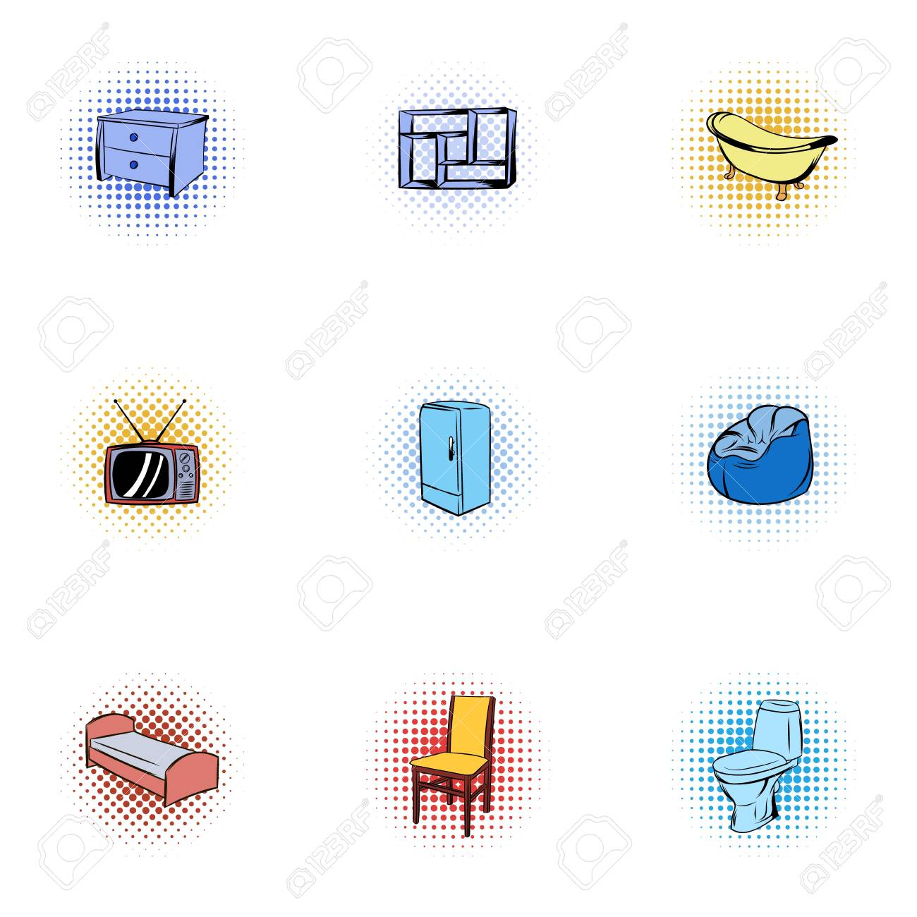 Home Furnishings Icons Set, Pop Art Style Stock Vector   69268485