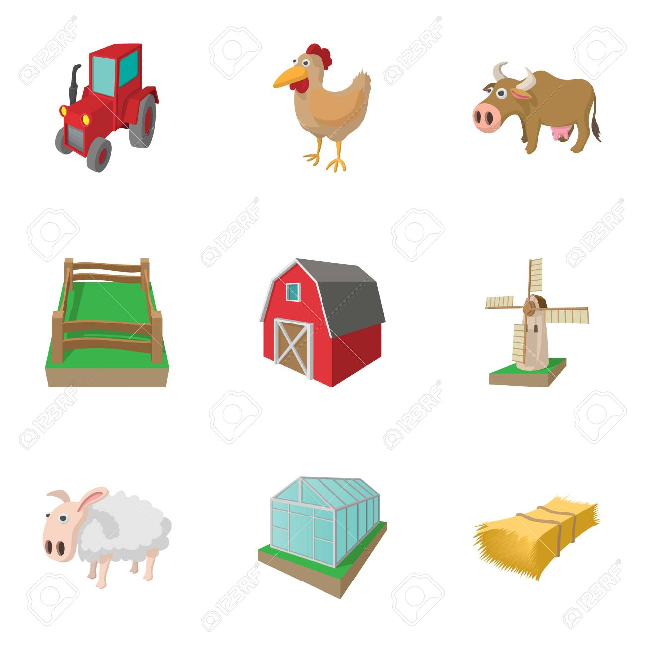 Farmhouse Icons Set Cartoon Style Stock Photo