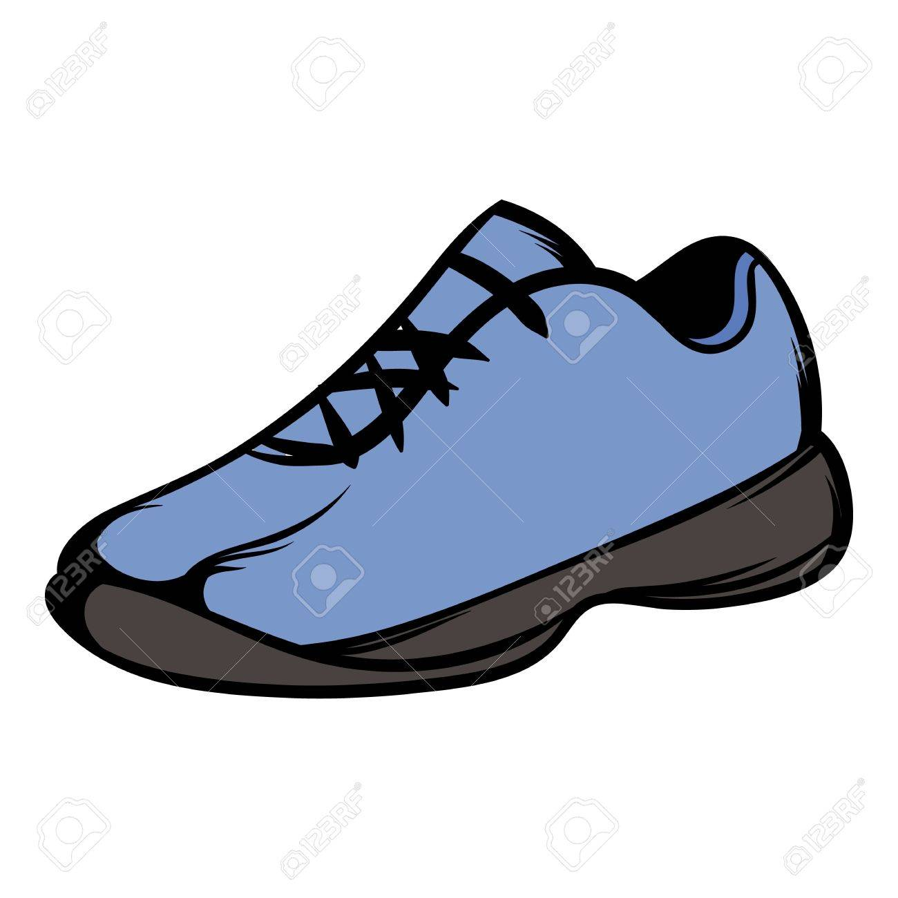 single blue running shoes icon cartoon royalty free cliparts