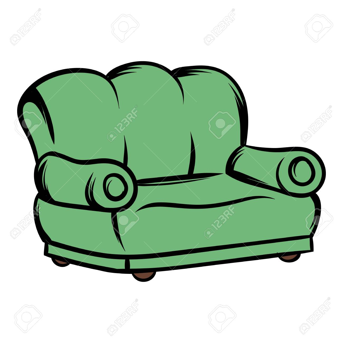 Green Sofa Icon Cartoon Royalty Free Cliparts Vectors And Stock