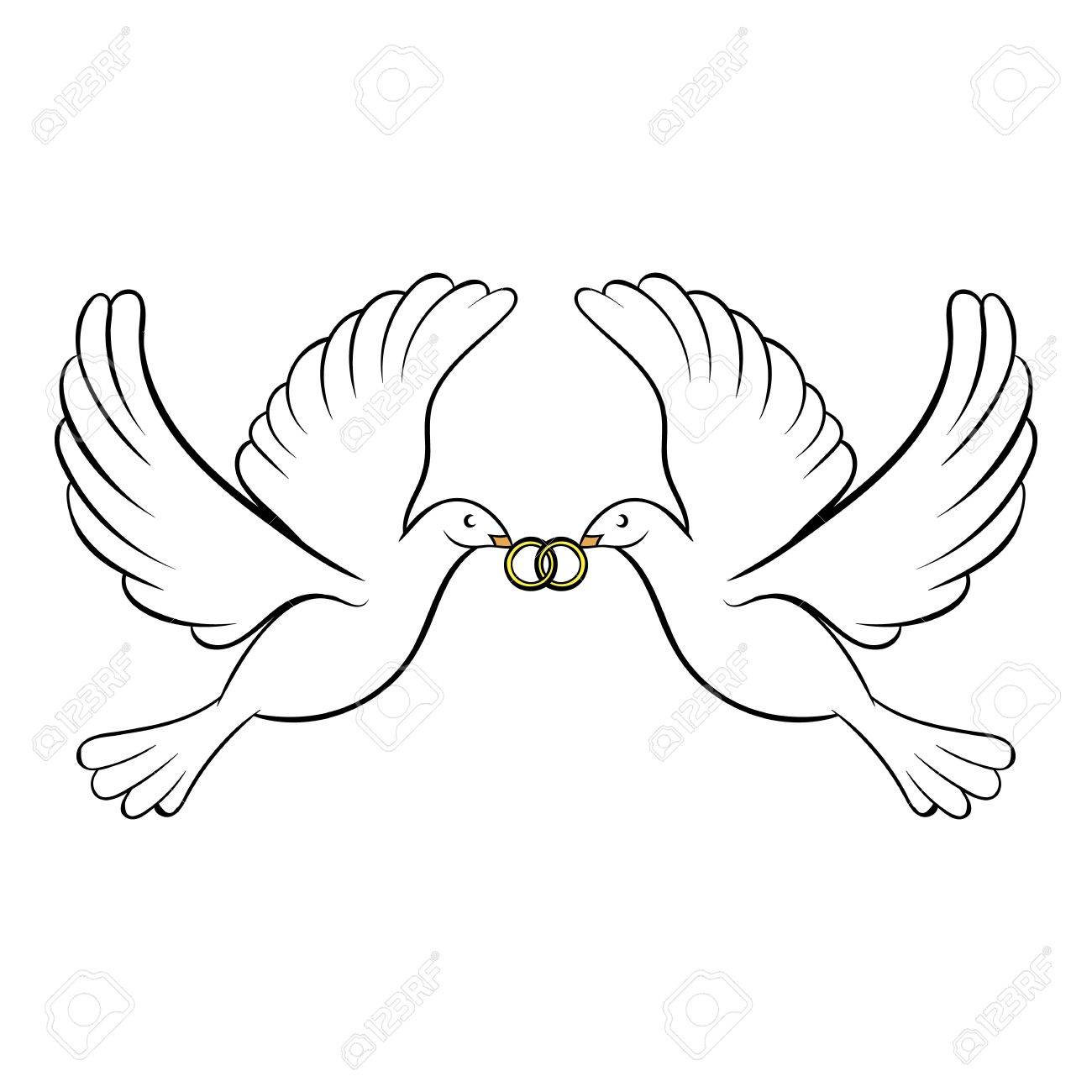 Wedding Two Doves Icon Cartoon Royalty Free Cliparts Vectors And