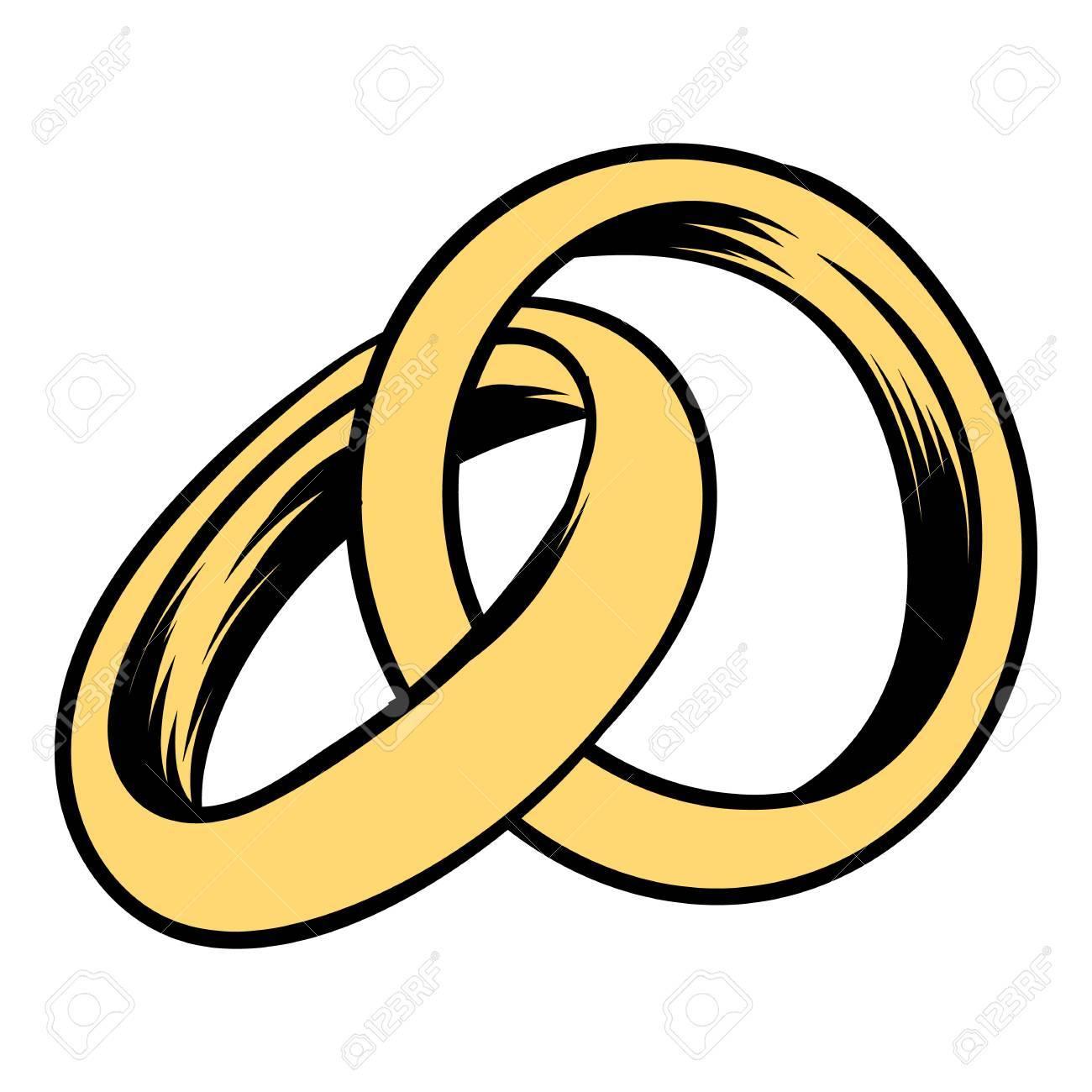 Wedding rings icon cartoon - 73501754