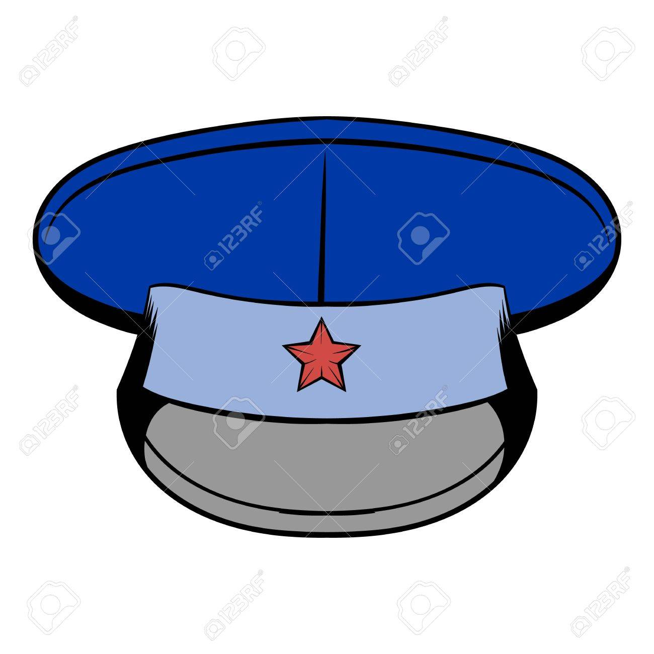 Blue Military Hat With Star Icon Cartoon Royalty Free Cliparts ... d7fb2e0541e