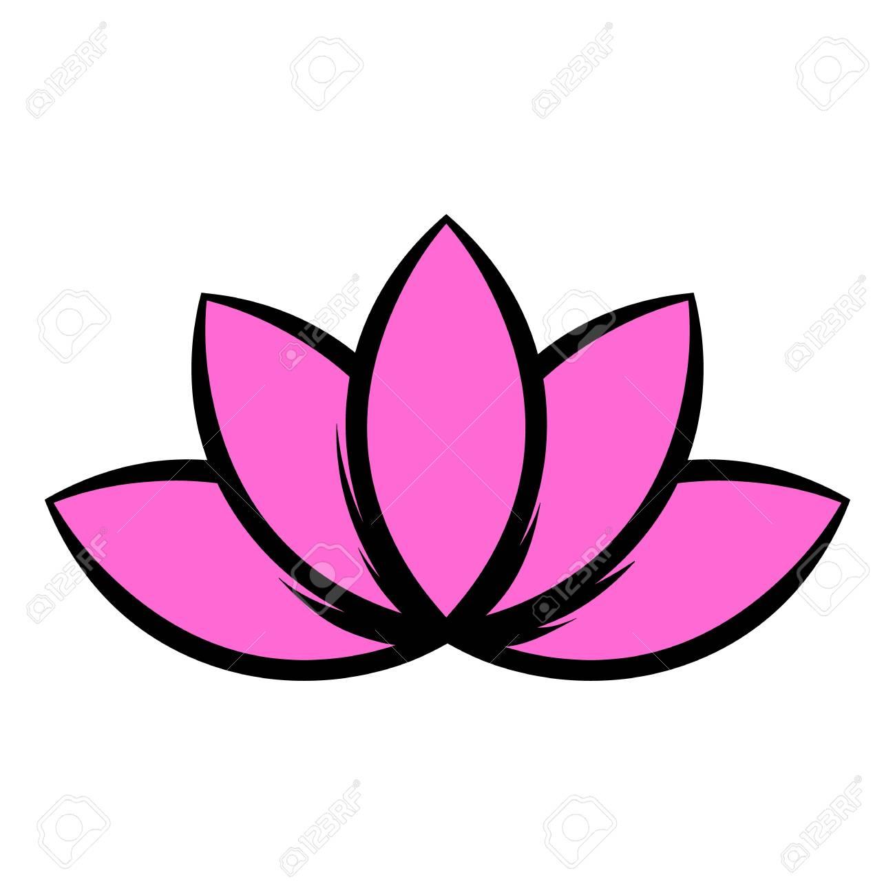 Lotus Flower Icon Icon Cartoon Royalty Free Cliparts Vectors And