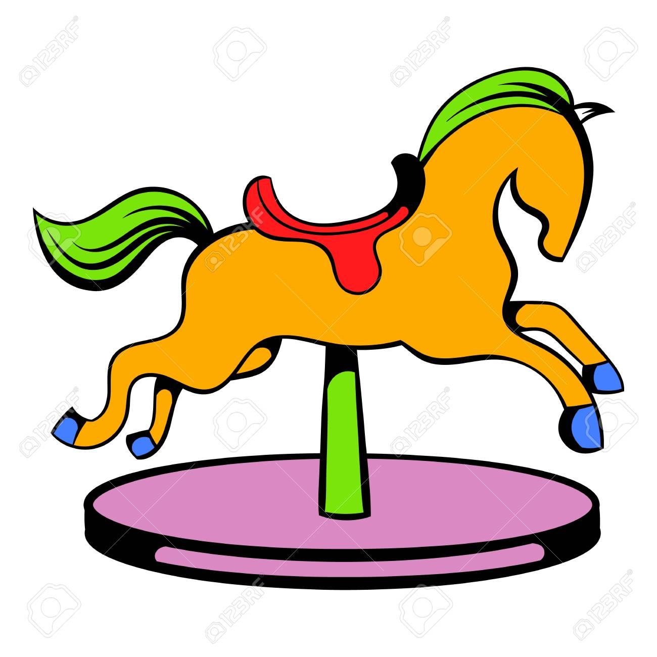 Carrousel Dessin icône du cheval de carrousel, icone dessin animé clip art libres de