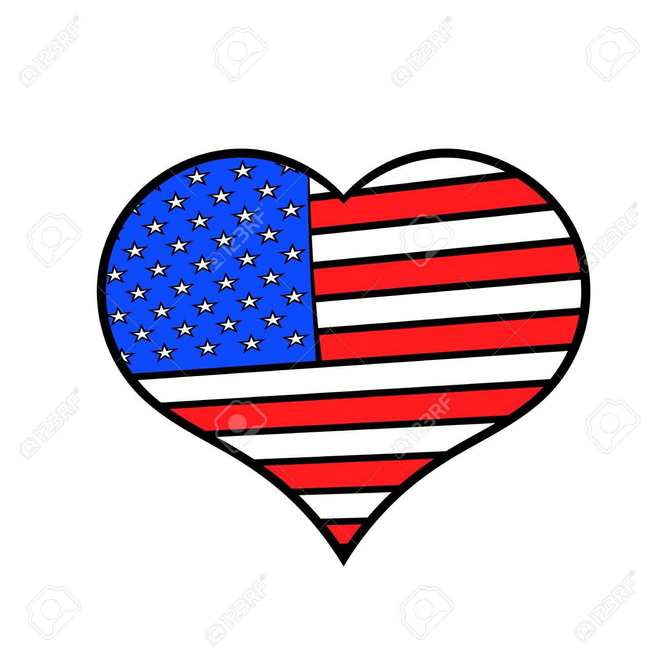 Corazón En Los Estados Unidos Bandera Colores Icono Dibujos Animados