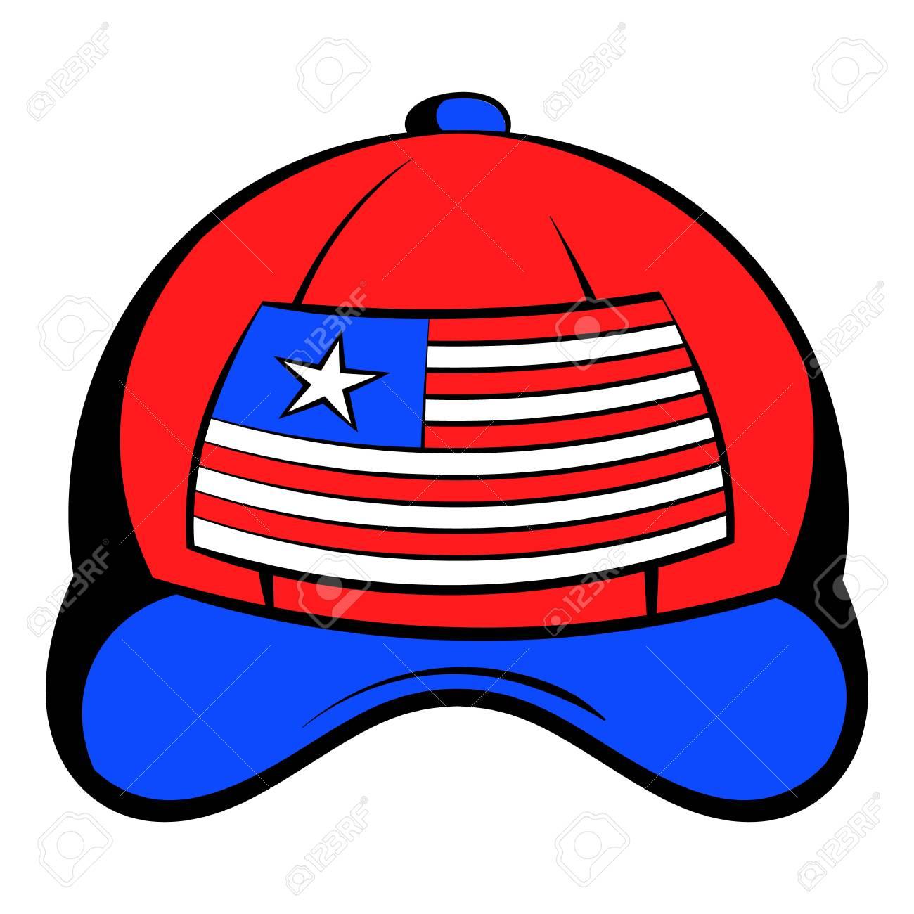 Béisbol En El Icono De Colores De La Bandera De Estados Unidos De Dibujos Animados