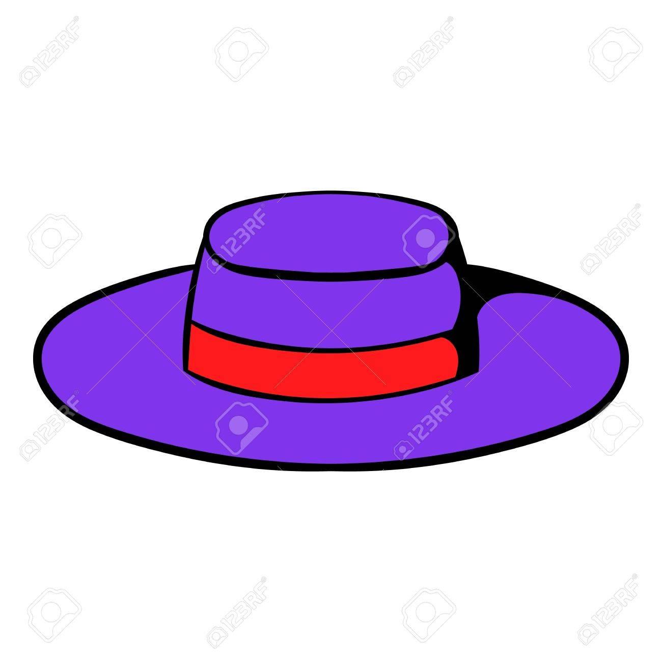 Foto de archivo - Sombrero sombrero icono de dibujos animados en color  púrpura. f44ea3f546d