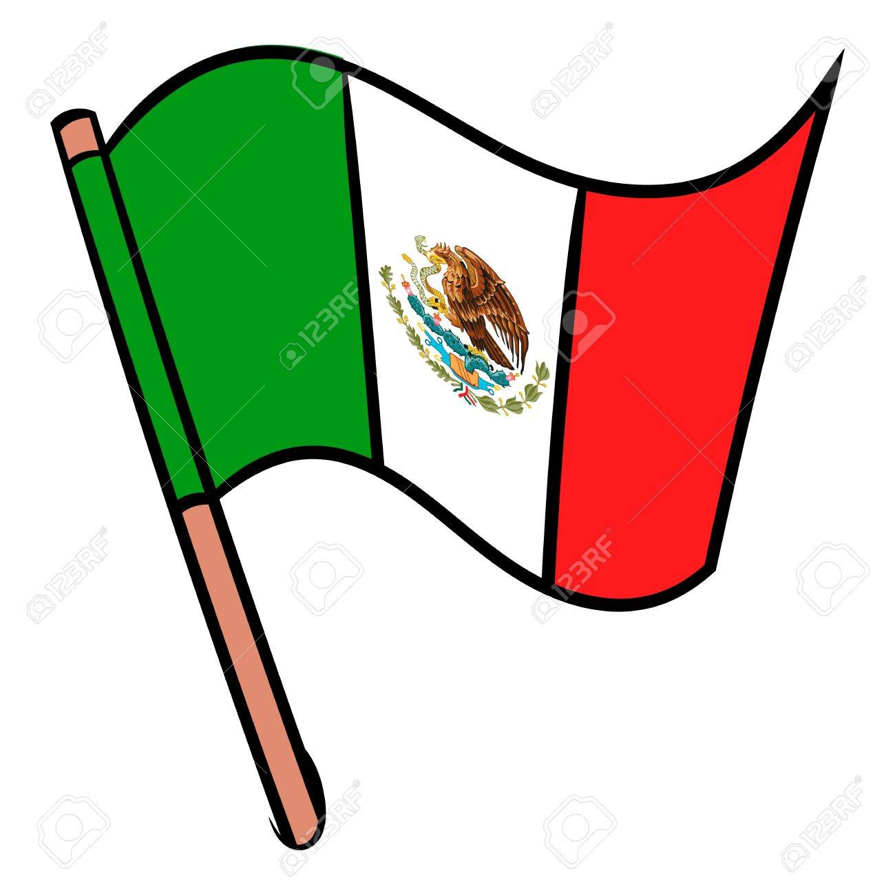 Flag Of Mexico Icon Cartoon Royalty Free Cliparts Vectors And