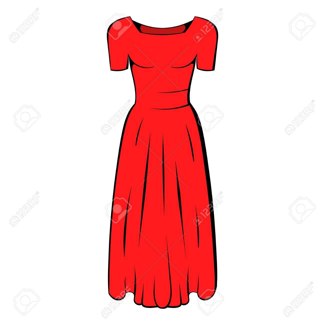0d07003b7a357e Womens red dress icon cartoon Stock Vector - 73974407