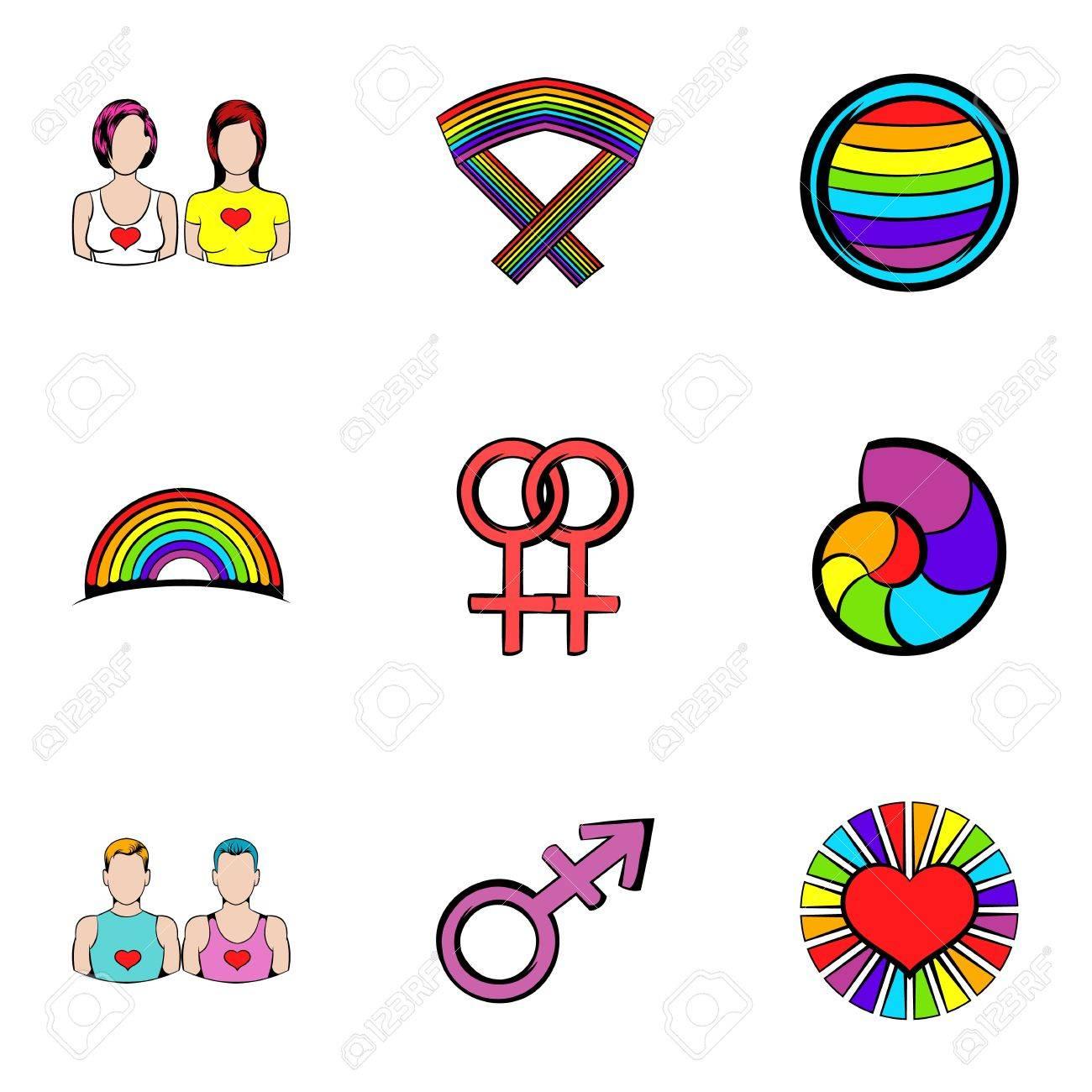 Ensemble D Icones Lesbiennes Style De Dessin Anime Clip Art Libres De Droits Vecteurs Et Illustration Image 74987040