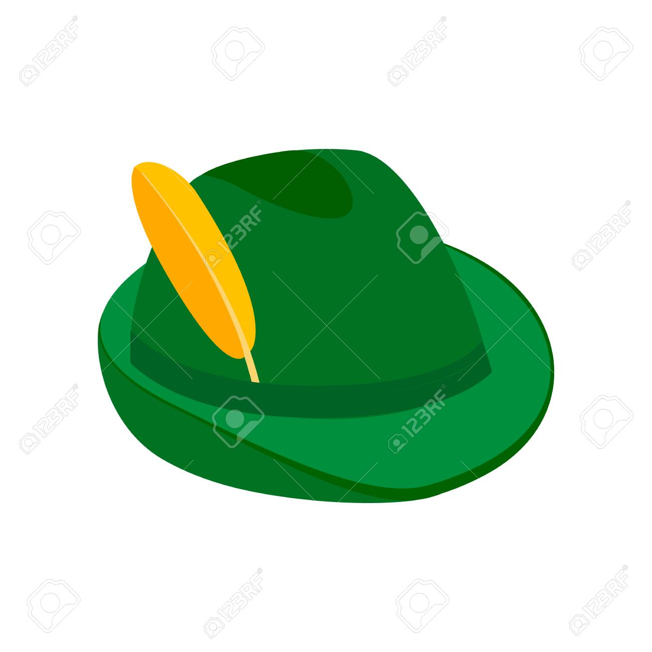 5ac4103f727 Green hat with a feather isometric 3d icon Stock Photo - 107554334