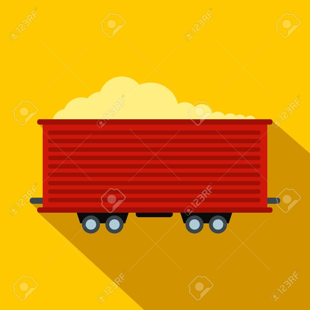 Open rail car flat icon  Single symbol on a yellow background