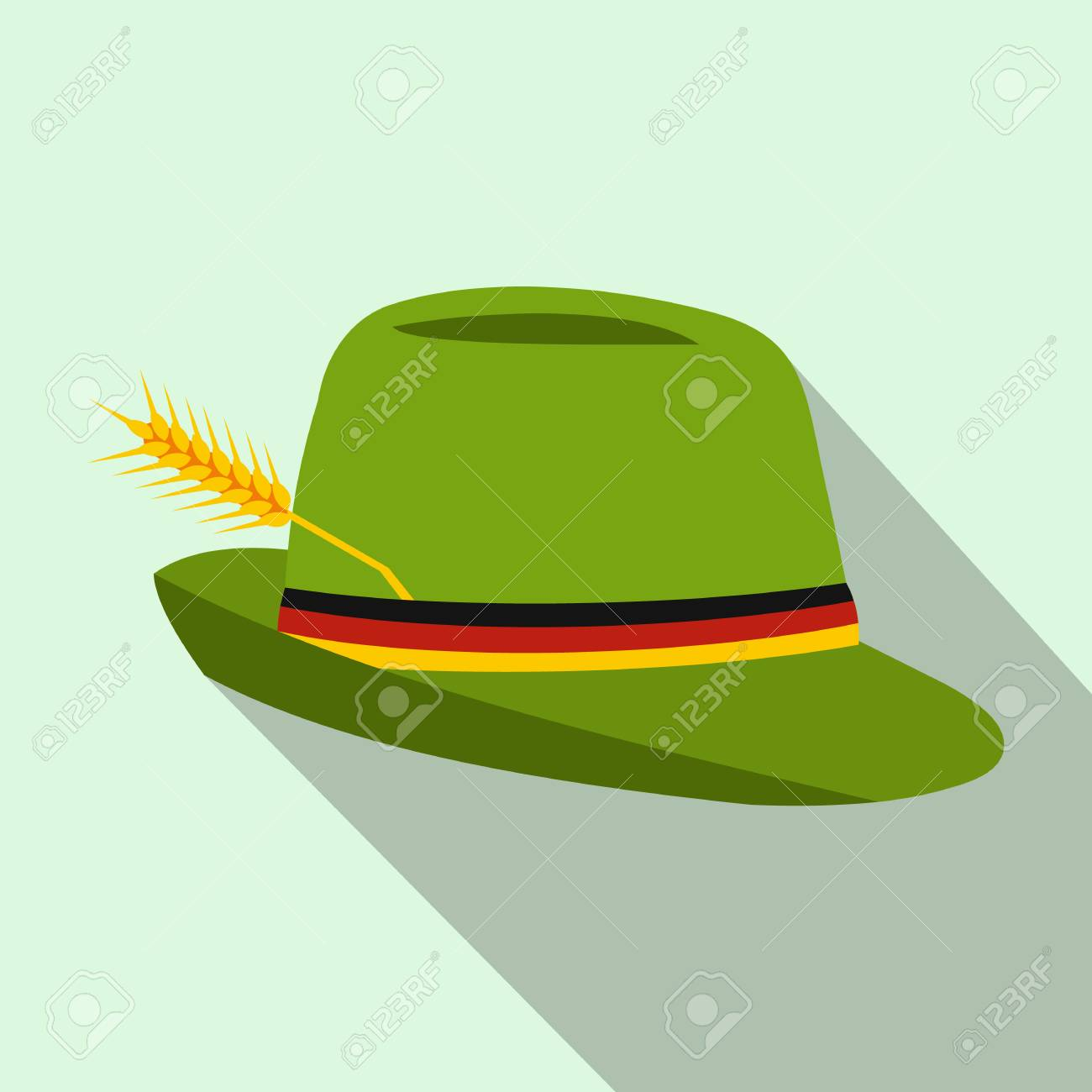 eb9875a53a3 Green hat with a feather icon in flat style on a light blue background Stock  Photo