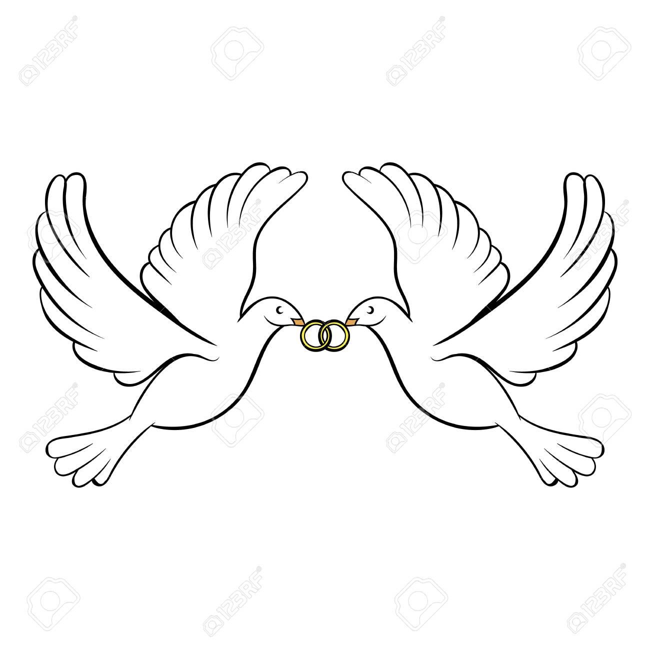 Wedding two doves icon cartoon - 107904621