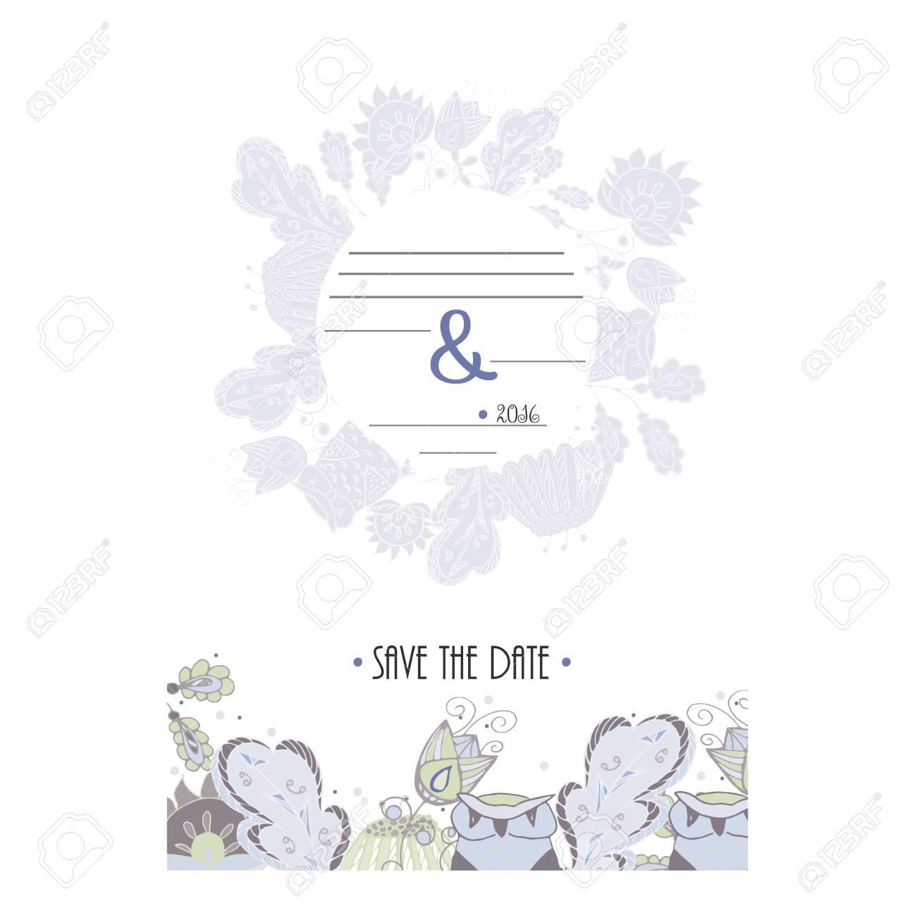 La Tarjeta De Fecha Tarjeta De Invitación Para La Boda Fiesta O Cita En El Estilo Retro De La Vendimia Con El Ornamento Floral Del Doodle Vector