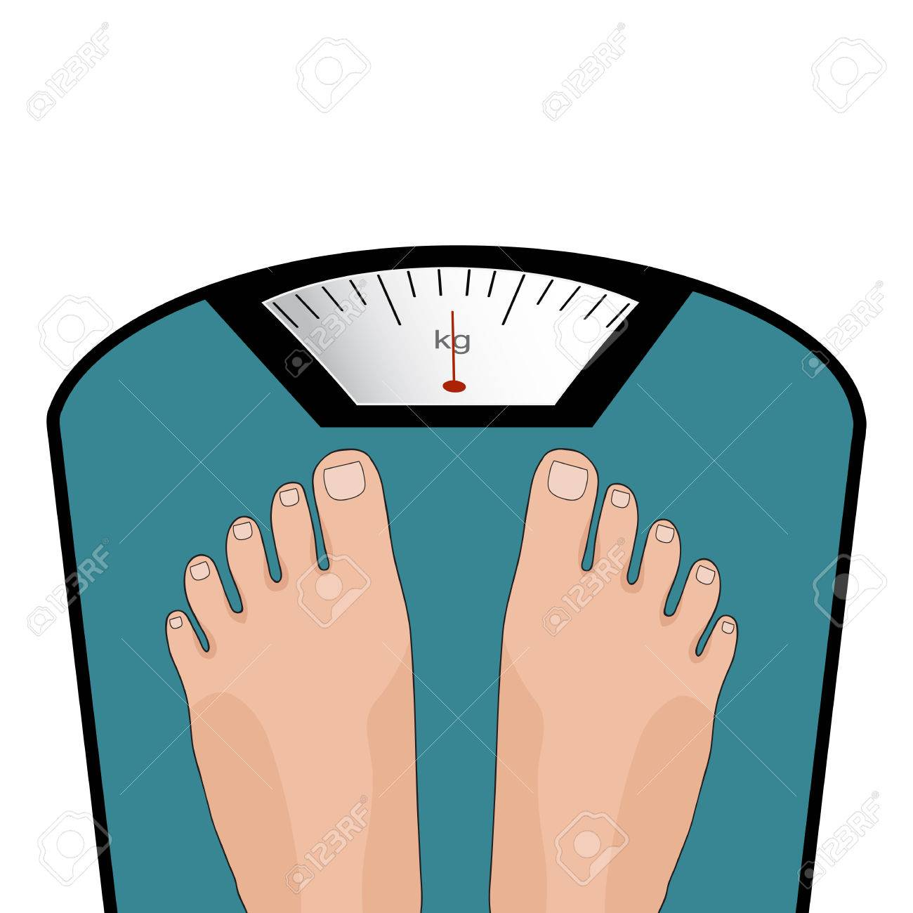 Concept of weight loss, healthy lifestyles, diet, proper nutrition. Vector feet on the scale. - 57730061