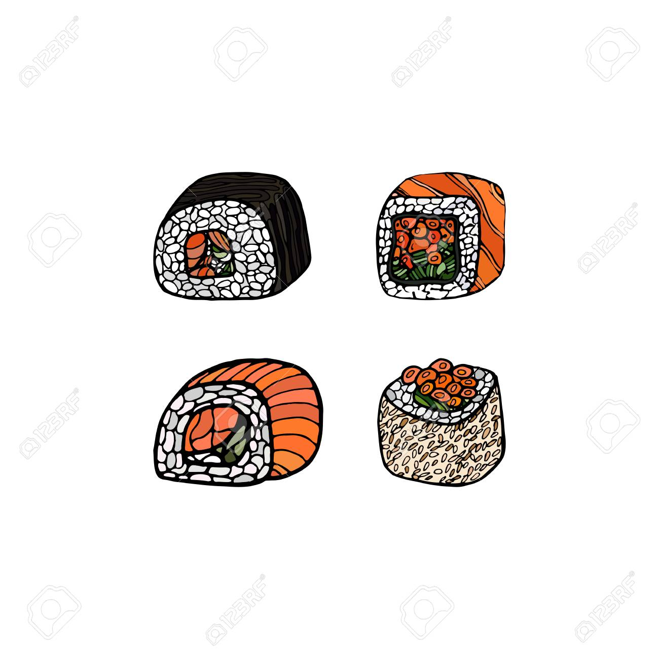 Sushi Roll Japanese Traditional Food Icon Isolated Hand Drawn
