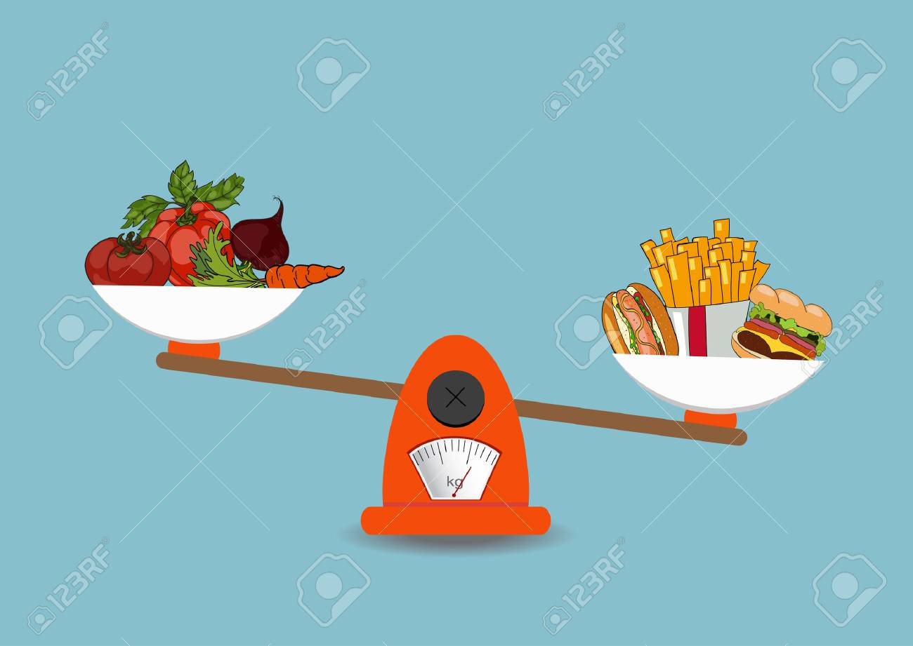 The concept of weight loss, healthy lifestyles, diet, proper nutrition. Vegetables and fast food on scales. Vector. Hand drawn - 57730977