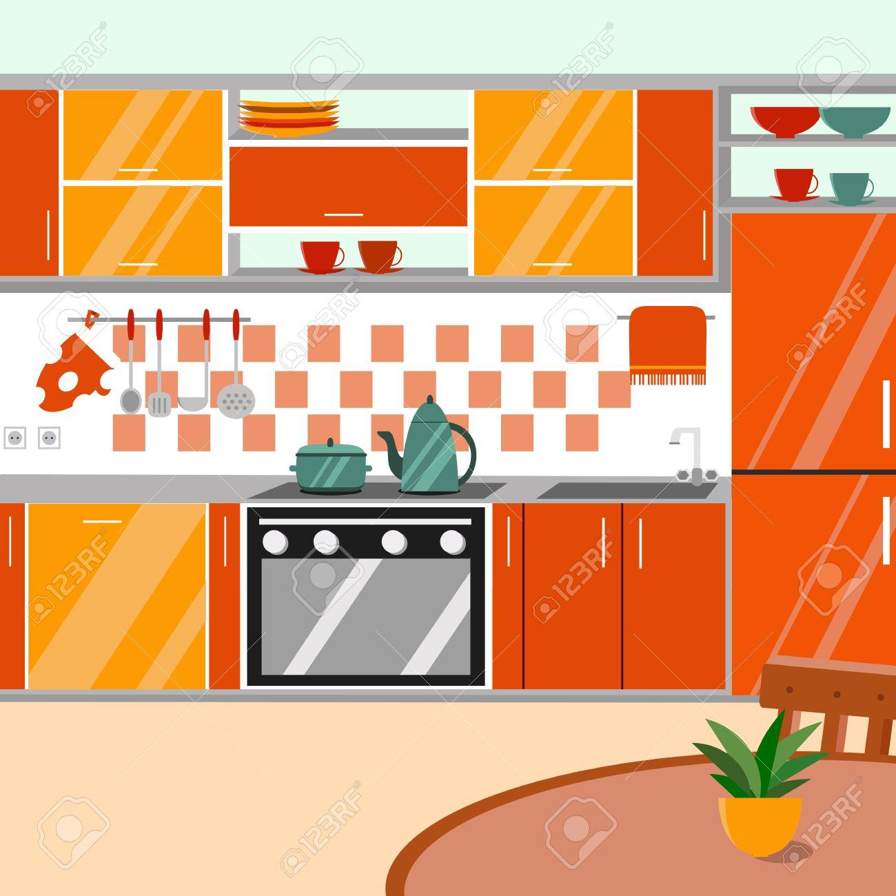 Cocina Con Muebles Y Sombras Largas. Ilustración Vectorial Estilo De ...