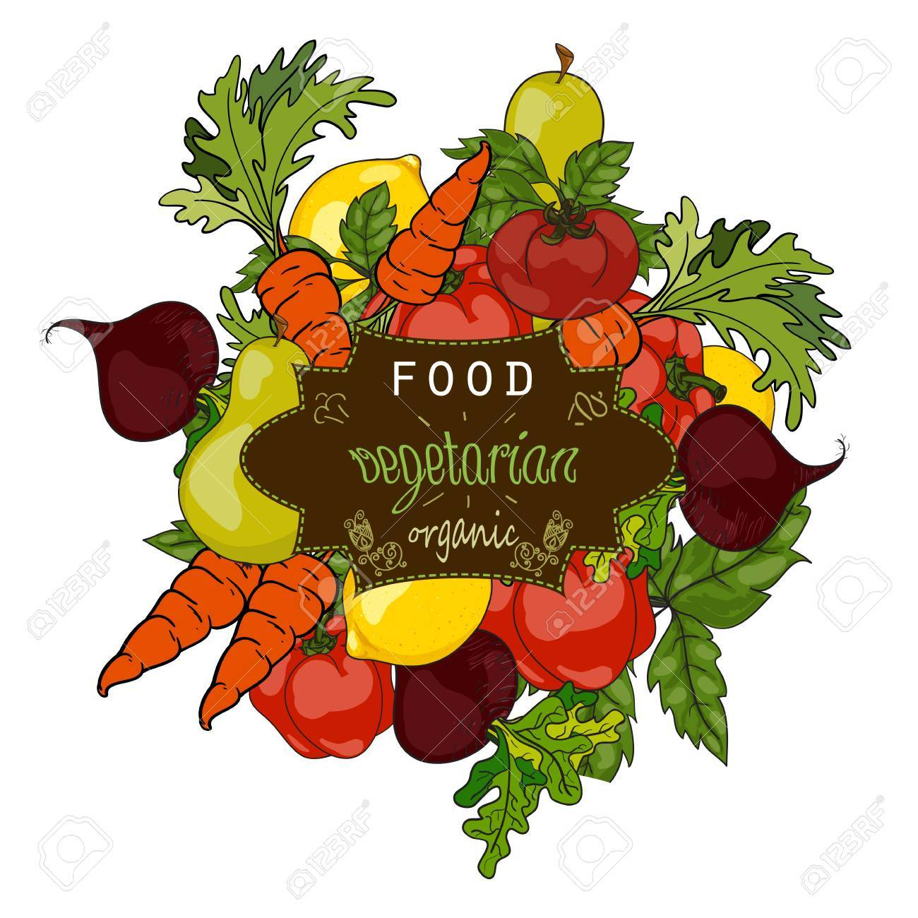 Set of fresh fruits and vegetables with a label of a healthy diet. Vector hand drawn illustration. The concept of a vegetarian menu, farm food, healthy, natural and organic food. - 62248999