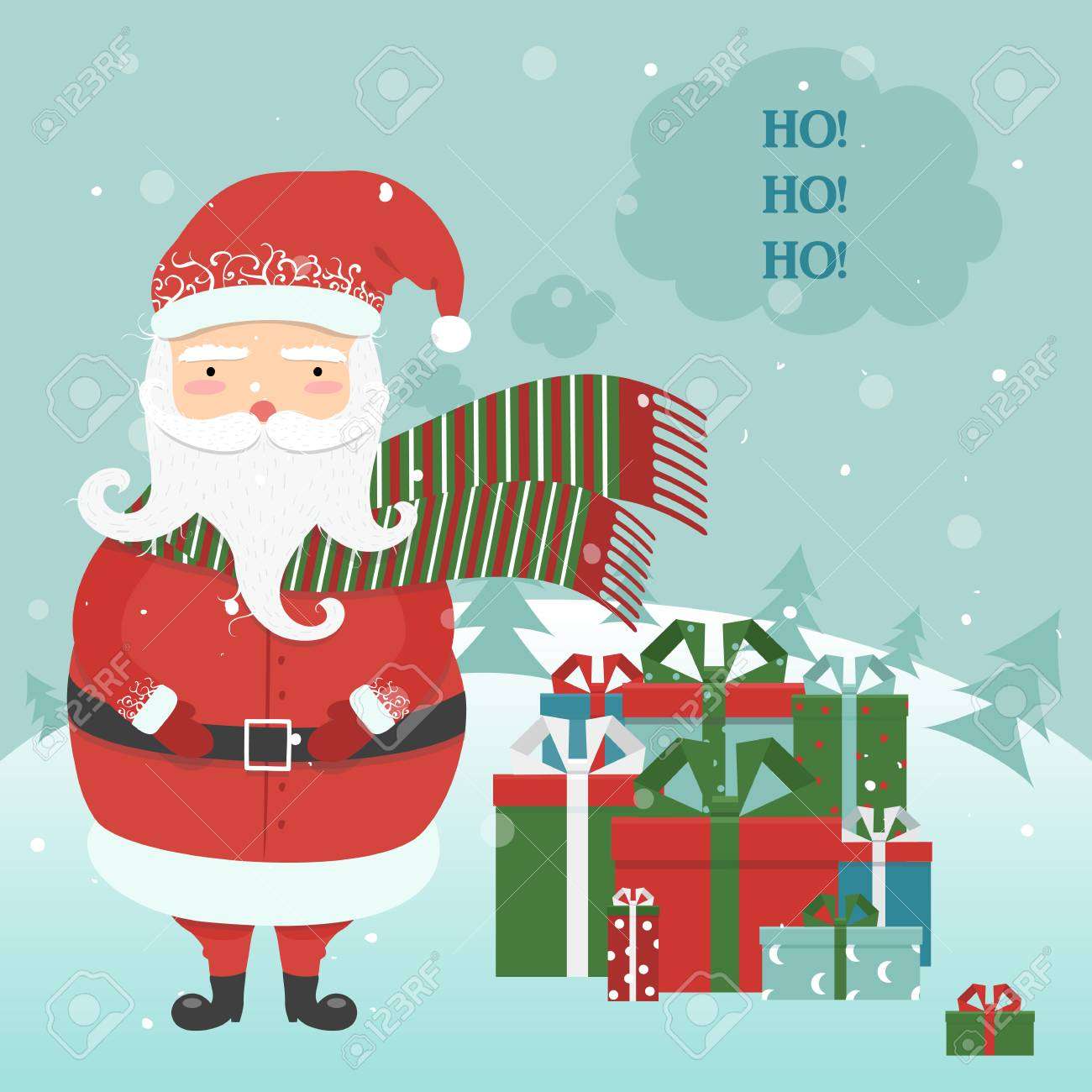 Ilustracao Vetorial De Natal Ano Novo Concept Jolly Desenhos
