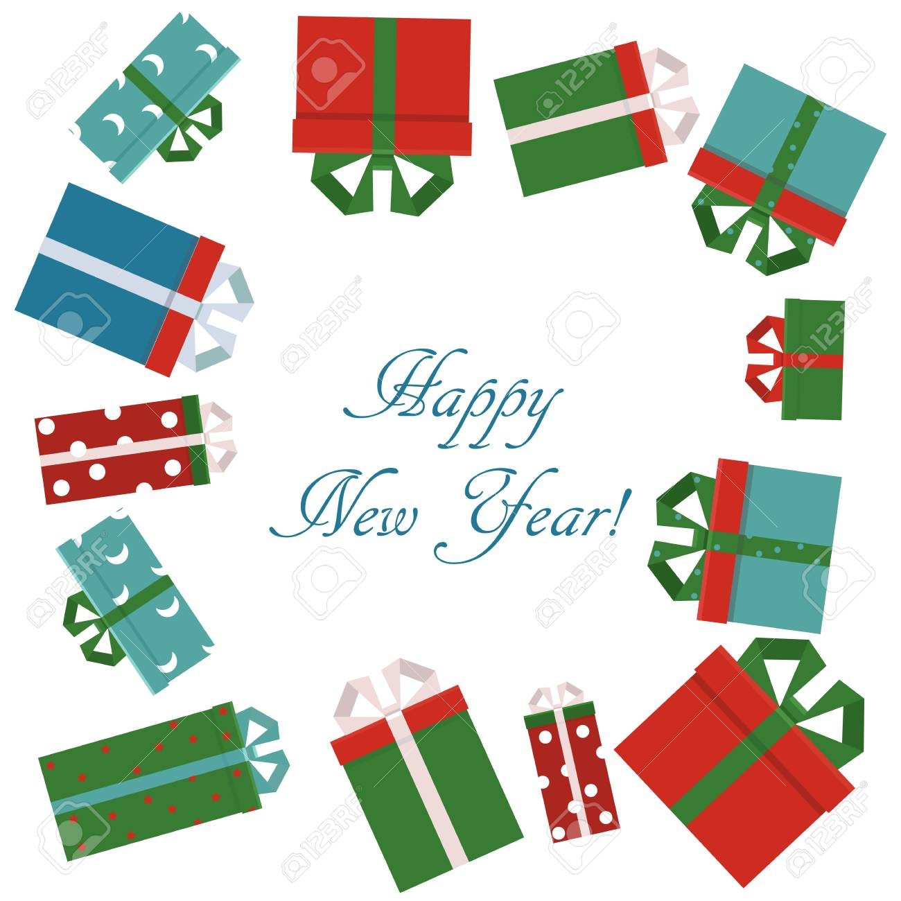 Merry Christmas And Happy New Year Party Invitation Card With