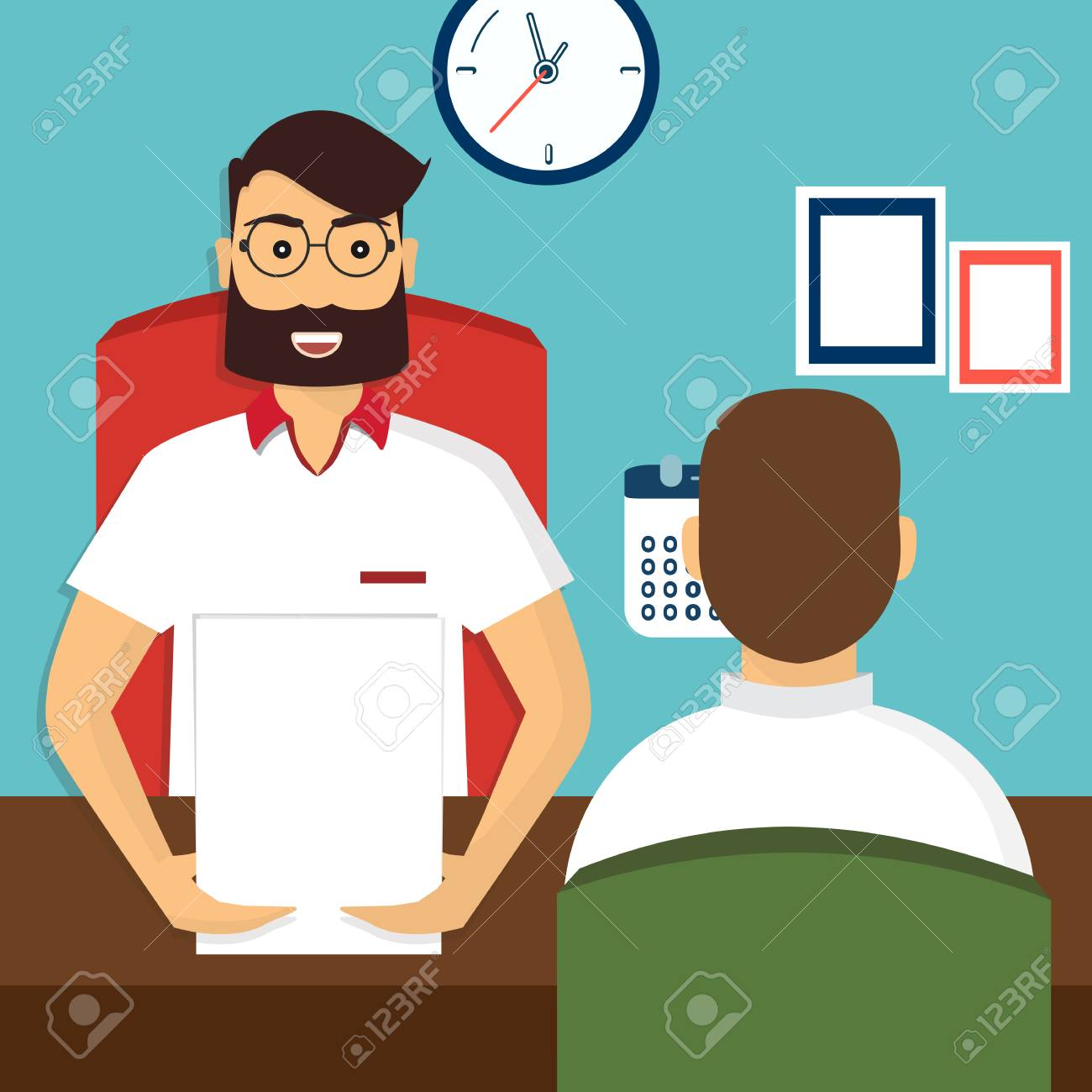Nice Vector   Vector Illustration, Flat Cartoon Style. Business Human Resources.  HR Recruitment. Interview With The Candidate Positions. Job Interview  Concept