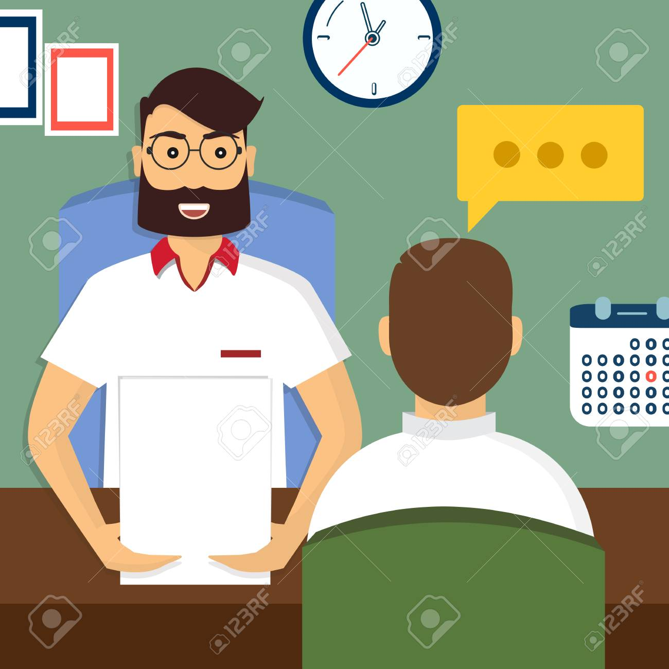 Beautiful Vector   Vector Illustration, Flat Cartoon Style. Business Human Resources.  HR Recruitment. Interview With The Candidate Positions. Job Interview  Concept