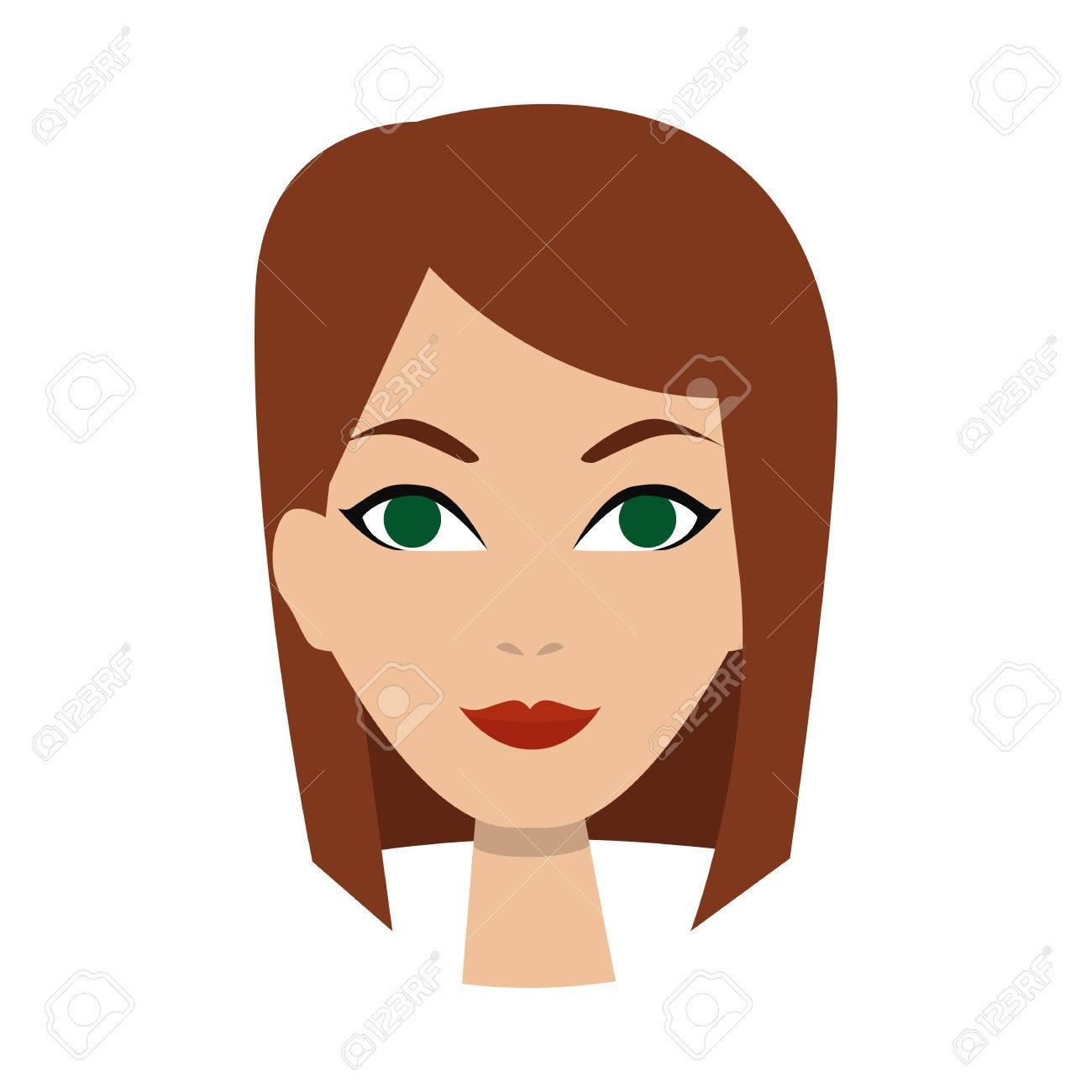 vector girl icon woman avatar face icon cartoon style stock rh 123rf com cartoon woman face outline cartoon woman face expressions