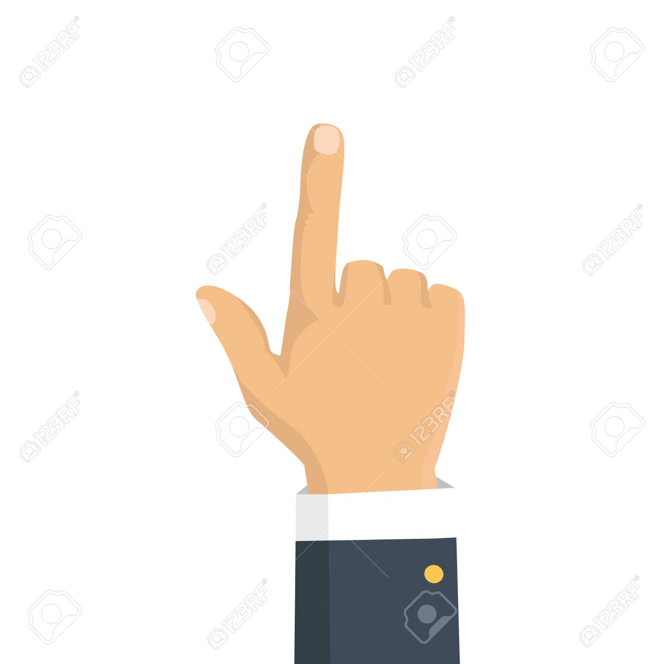 Vector isolated illustration. Hand with pointing finger. - 77744331