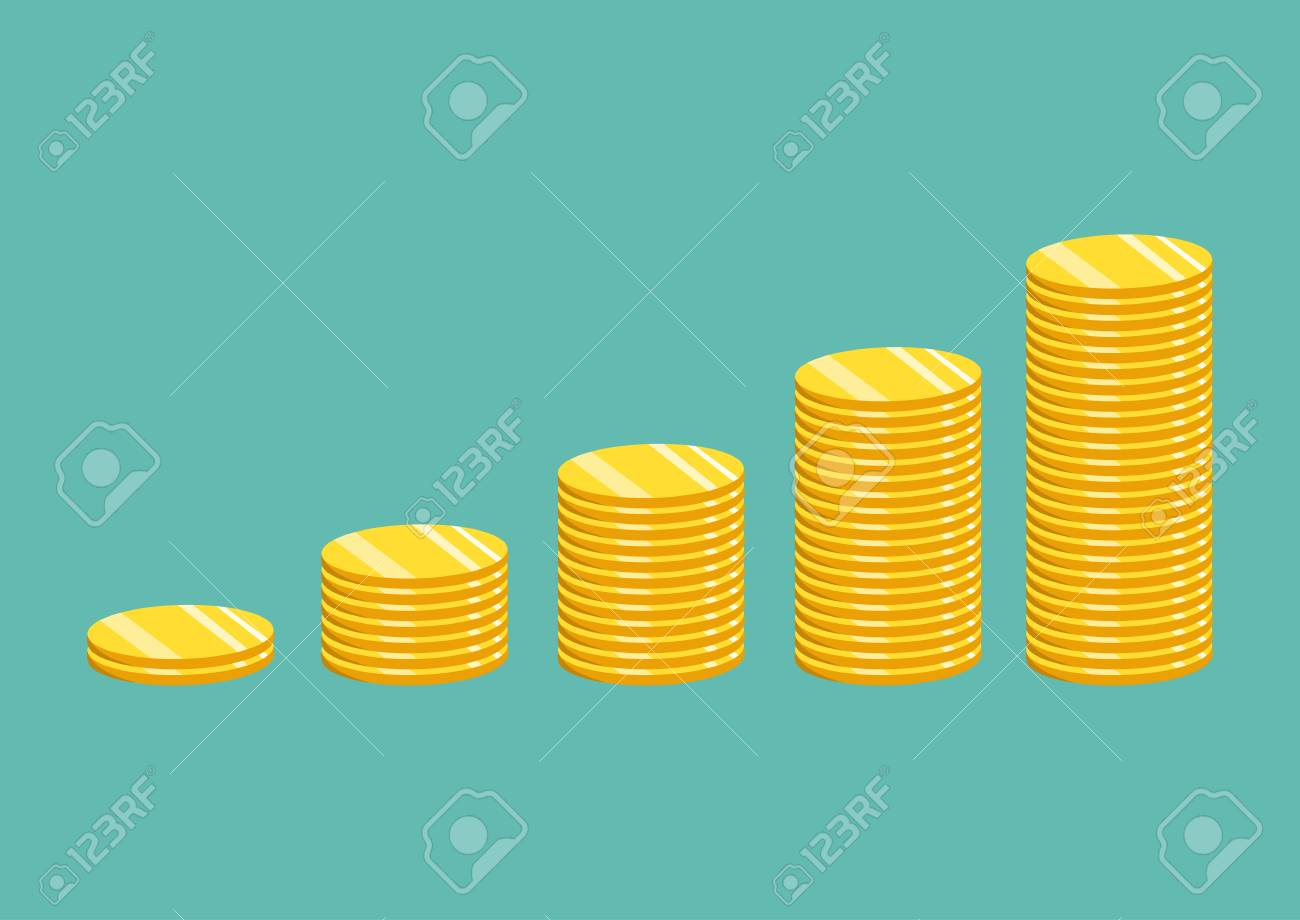 Stack of gold coins. The concept of income or profit. Vector illustration. - 77767020