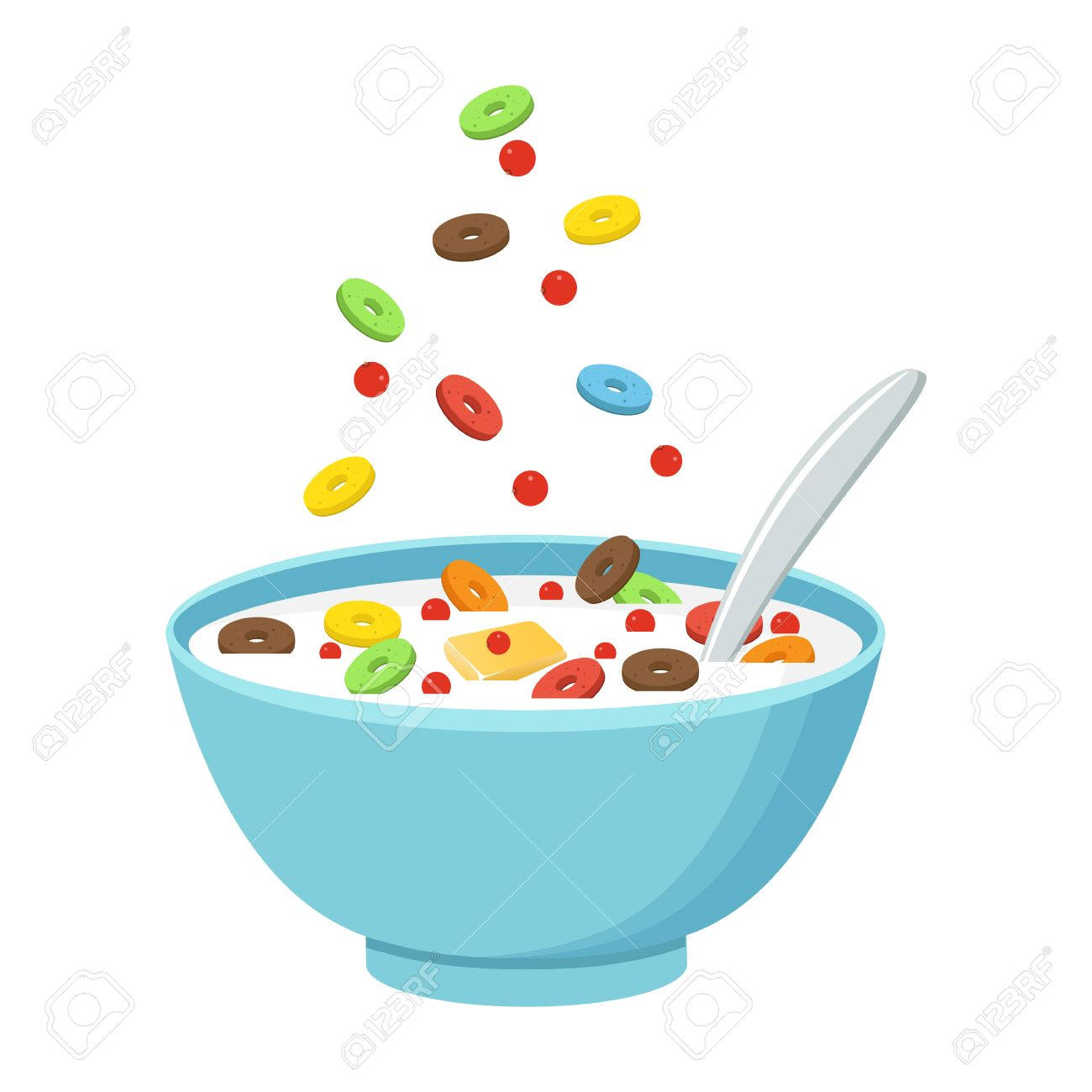 vector illustration cereal bowl with milk smoothie isolated rh 123rf com Cereal Bowl Drawing bowl of cereal clipart free