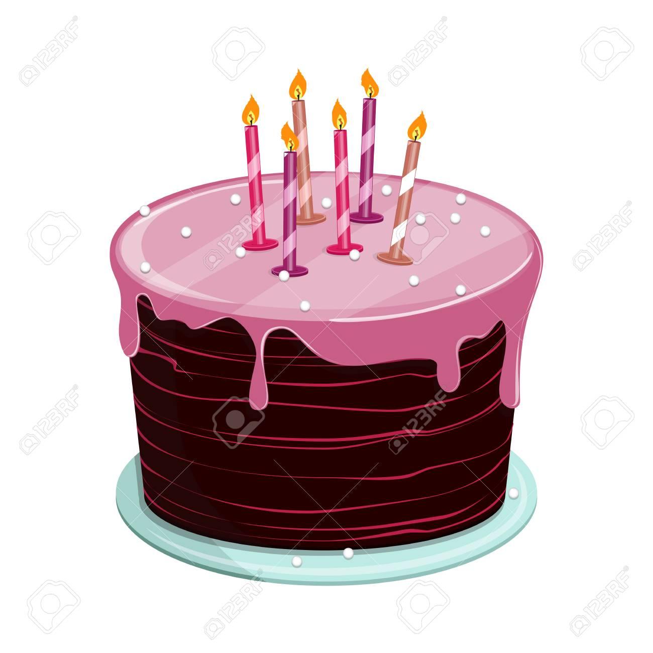 Gâteau Biscuit Sucré Avec Glaçage Pour Fête Danniversaire Ou De Mariage Fête Illustration Vectorielle Isolé Sur Fond Blanc