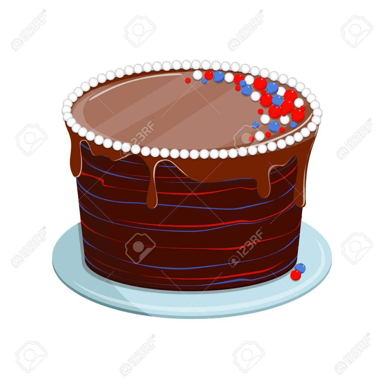 Illustration Vectorielle Isolé Sur Fond Blanc Gâteau Au Biscuit Sucré Avec Glaçage Pour Les Fêtes Danniversaire Ou De Mariage Fête