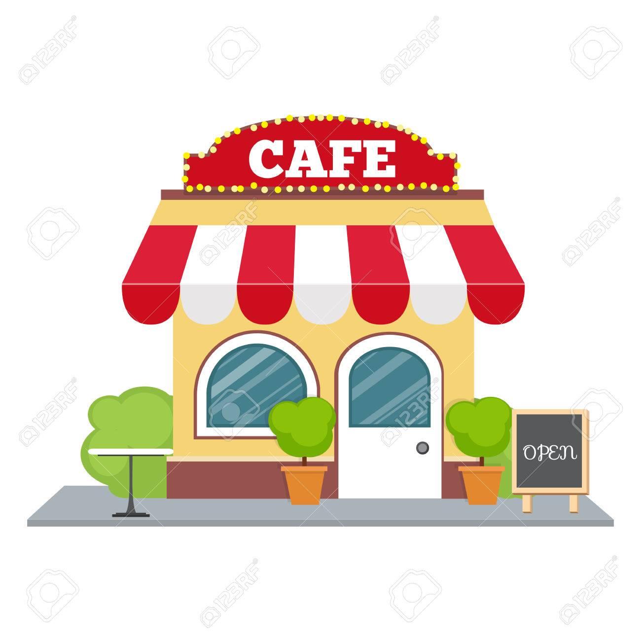 Building cartoon clipart restaurant building and restaurant building - Colorful Cafe Isometric Restaurant Building Cartoon Vector Icon Flat Isometric Design Stock Vector