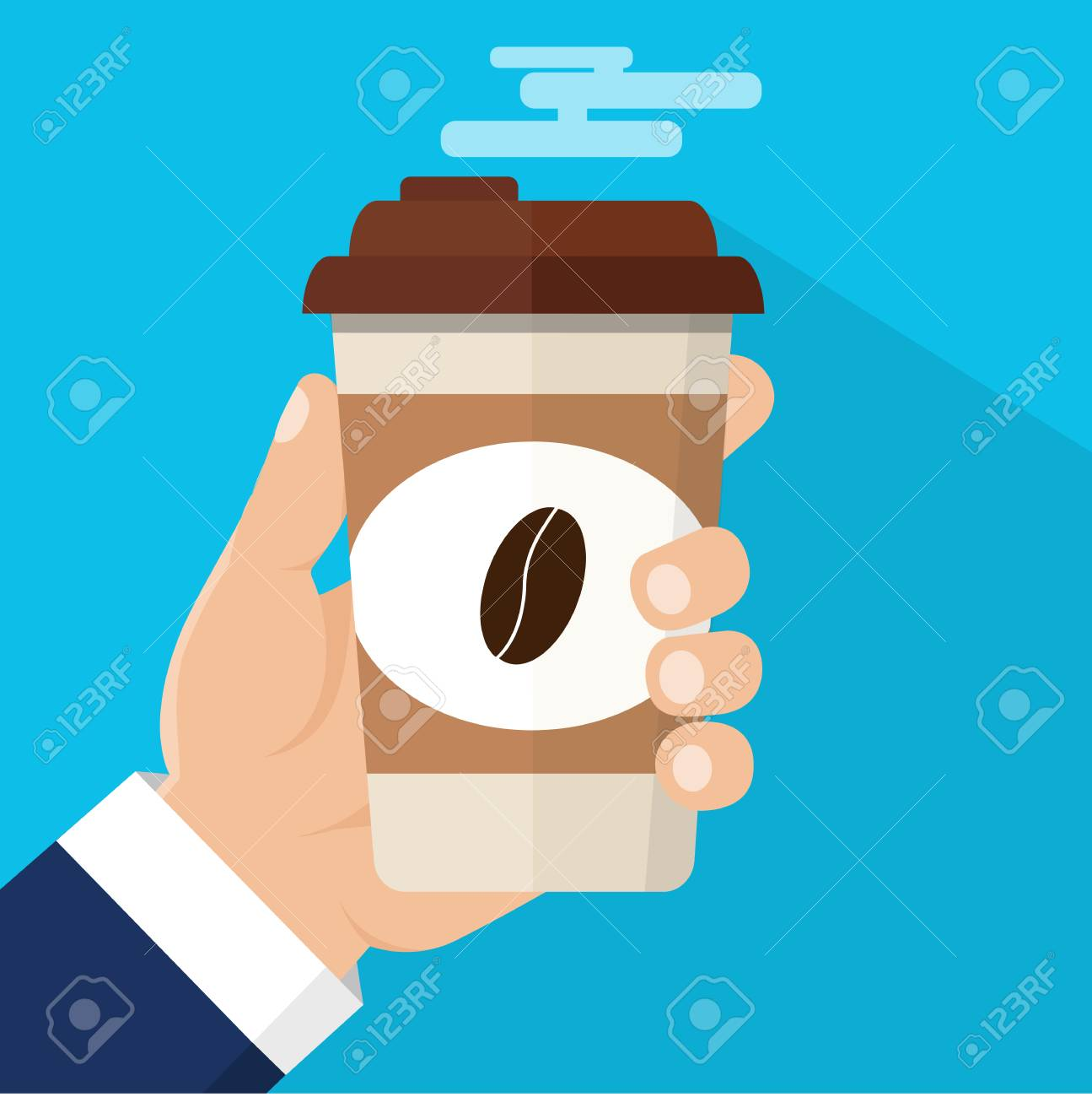 Coffee time, coffee break. Isolated vector illustration. Hand holding cup of hot drink. - 83650662