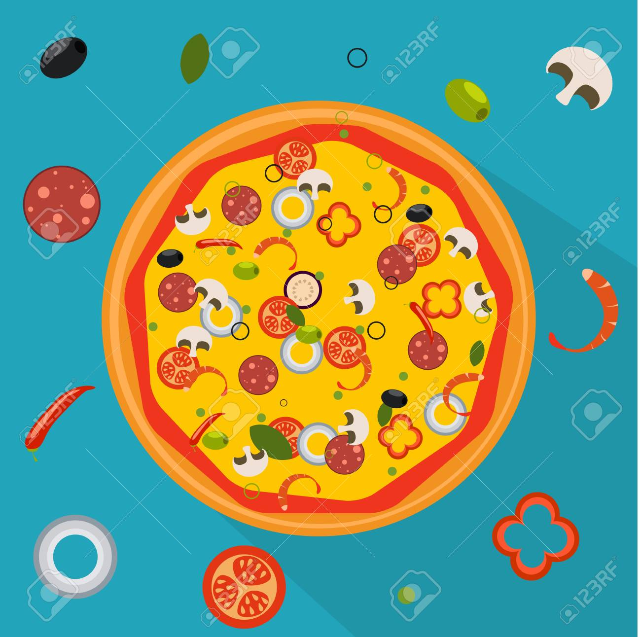 Vector Illustration. Isolated pizza, traditional ingredients for the pizza. Foto de archivo - 87345605