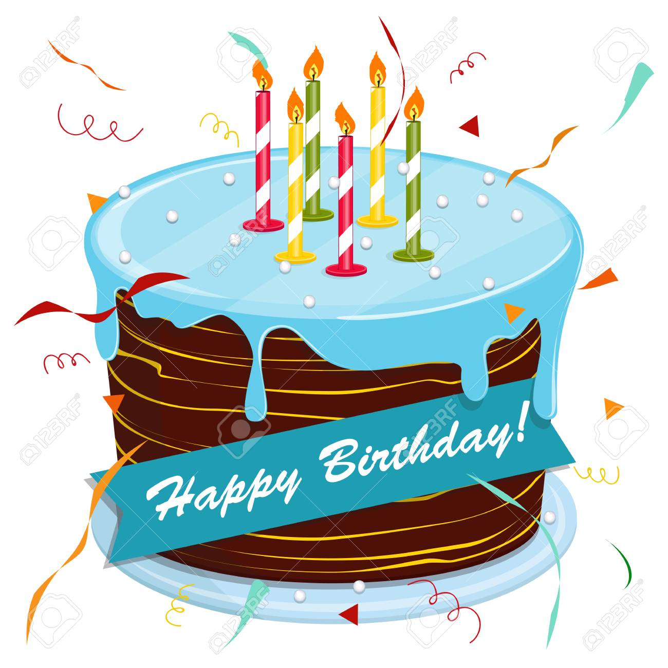 Cute Cartoon Happy Birthday Cake With Candles Blackboard With