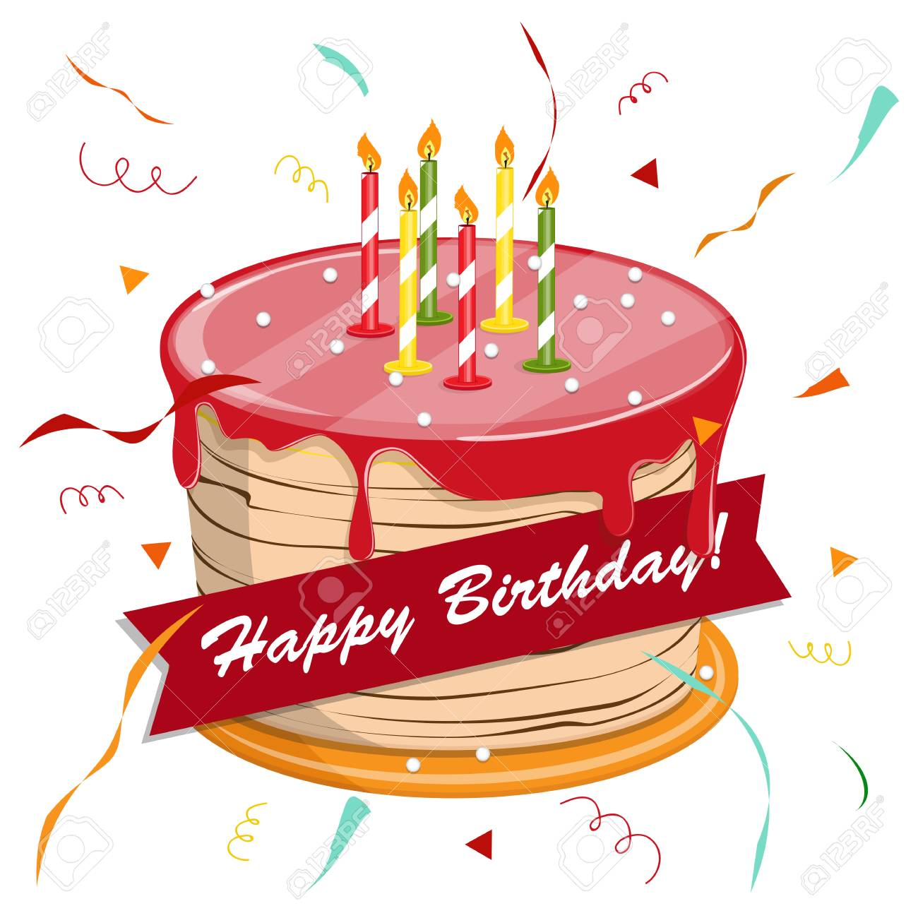 Cute cartoon happy birthday cake with candles. - 88887492