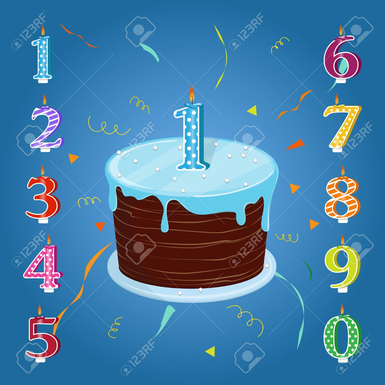 Happy Birthday Cake With Candles Numbers For Each Year Vector