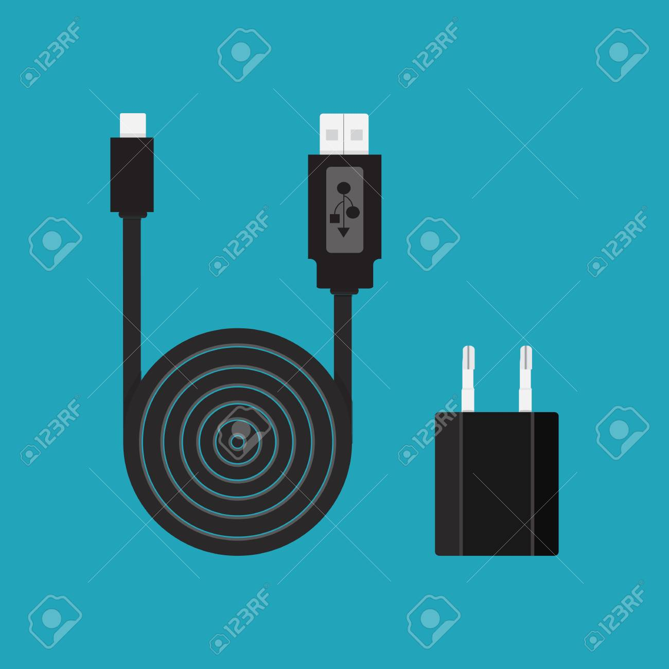 Icon. Vector. Charger, Cable, Wire For Phone With Micro USB ...