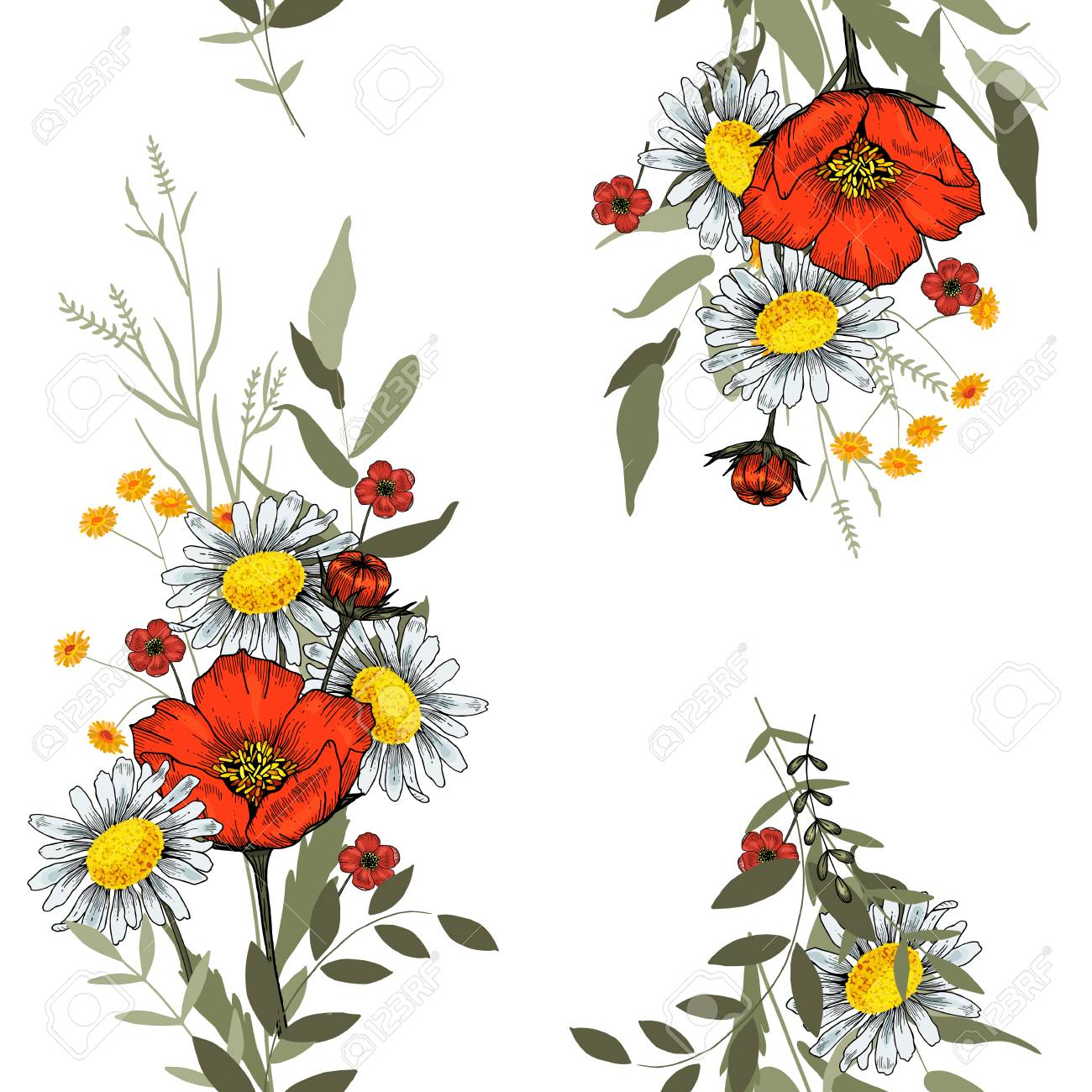 Abstract flower drawing. Realistic isolated seamless flower pattern