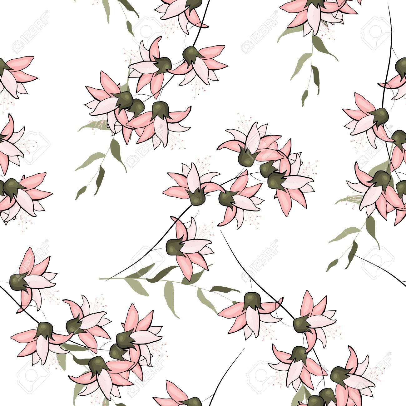 Japanese Garden Seamless Pattern Spring Asia Flowers Wallpaper