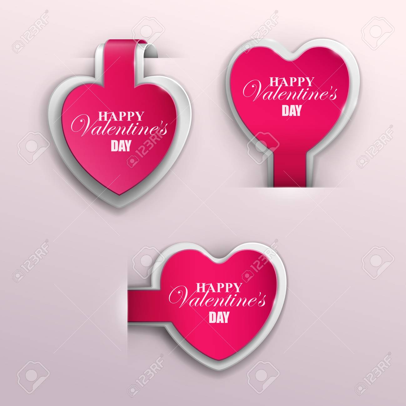 Valentines Day Banners Set Vector Illustration Royalty Free
