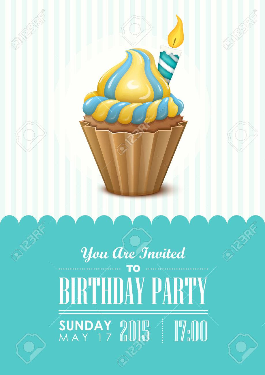 Poster vector template with birthday cupcake birthday party poster vector template with birthday cupcake birthday party invitation stock vector 51705649 filmwisefo