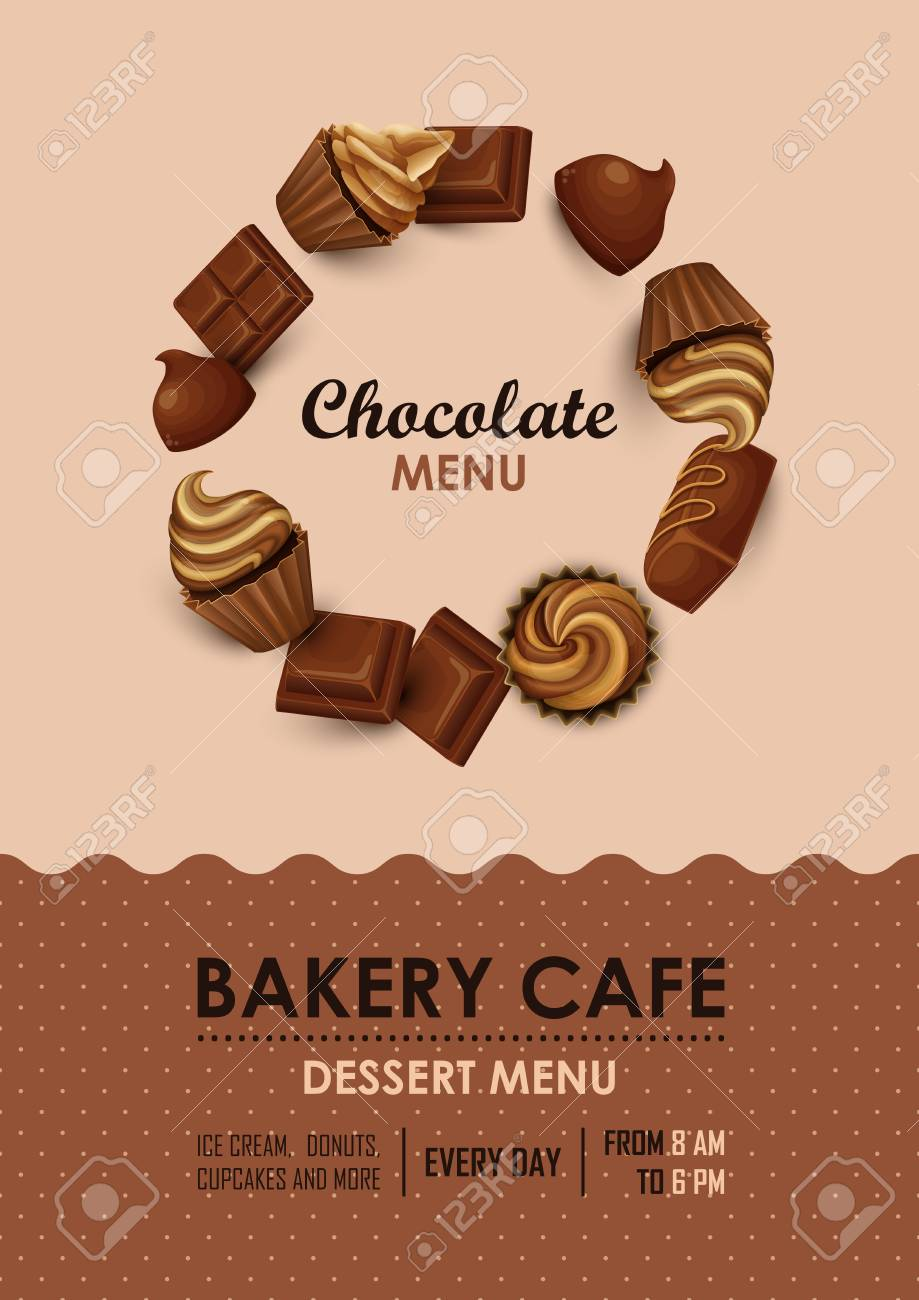 Poster vector template with chocolate, cupcakes and sweets  Advertising