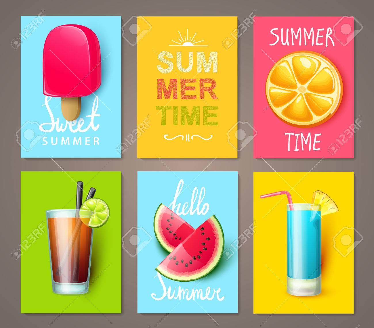 Set Von Sommer Broschüren Mit Früchten, Beeren, Cocktails Und Eis ...