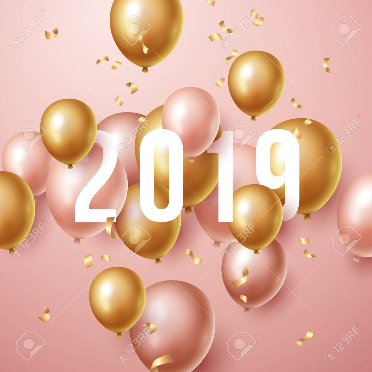 Happy New Year 2019 Background With Floating Party Balloons
